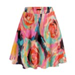 Pastel Painted Roses High Waist Skirt
