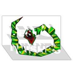 Decorative Snake Best Wish 3d Greeting Card (8x4)  by Valentinaart