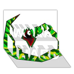 Decorative Snake Work Hard 3d Greeting Card (7x5)  by Valentinaart