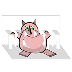 Pink Rhino Mom 3d Greeting Card (8x4)  by Valentinaart