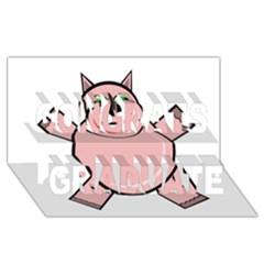 Pink Rhino Congrats Graduate 3d Greeting Card (8x4)  by Valentinaart