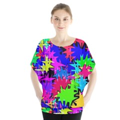 Colorful Shapes   Batwing Chiffon Blouse by LalyLauraFLM