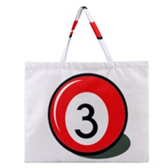 Billiard Ball Number 3 Zipper Large Tote Bag by Valentinaart