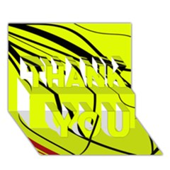 Yellow Decorative Design Thank You 3d Greeting Card (7x5)  by Valentinaart