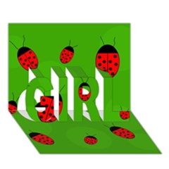 Ladybugs Girl 3d Greeting Card (7x5)  by Valentinaart