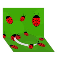 Ladybugs Circle Bottom 3d Greeting Card (7x5)  by Valentinaart