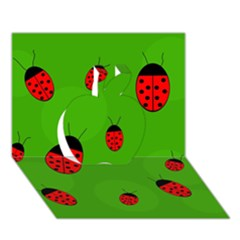 Ladybugs Apple 3d Greeting Card (7x5)  by Valentinaart