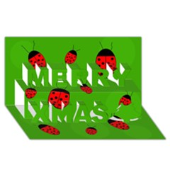 Ladybugs Merry Xmas 3d Greeting Card (8x4)  by Valentinaart