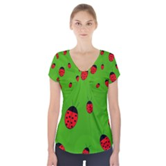 Ladybugs Short Sleeve Front Detail Top by Valentinaart
