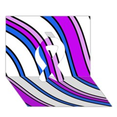 Purple Lines Ribbon 3d Greeting Card (7x5)  by Valentinaart