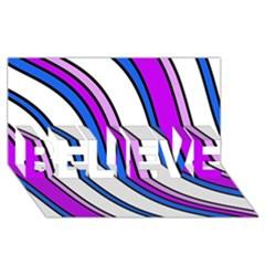 Purple Lines Believe 3d Greeting Card (8x4)  by Valentinaart