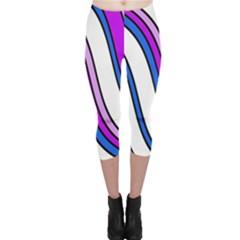 Purple Lines Capri Leggings  by Valentinaart