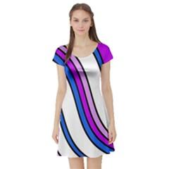 Purple Lines Short Sleeve Skater Dress by Valentinaart