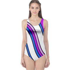 Purple Lines One Piece Swimsuit by Valentinaart