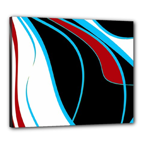 Blue, Red, Black And White Design Canvas 24  X 20  by Valentinaart