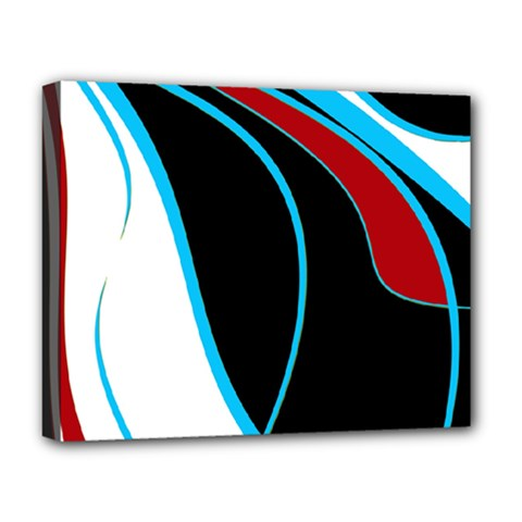 Blue, Red, Black And White Design Deluxe Canvas 20  X 16   by Valentinaart