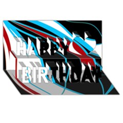 Blue, Red, Black And White Design Happy Birthday 3d Greeting Card (8x4)  by Valentinaart