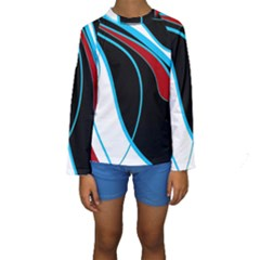Blue, Red, Black And White Design Kid s Long Sleeve Swimwear by Valentinaart