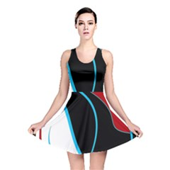 Blue, Red, Black And White Design Reversible Skater Dress by Valentinaart