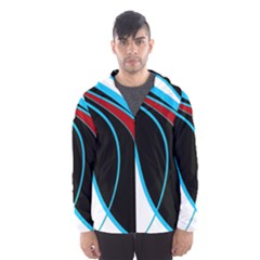 Blue, Red, Black And White Design Hooded Wind Breaker (men) by Valentinaart