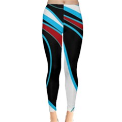 Blue, Red, Black And White Design Winter Leggings  by Valentinaart