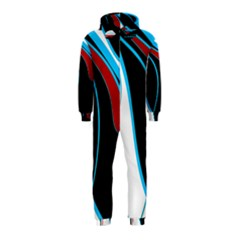 Blue, Red, Black And White Design Hooded Jumpsuit (kids) by Valentinaart