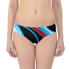 Blue, Red, Black And White Design Hipster Bikini Bottoms by Valentinaart