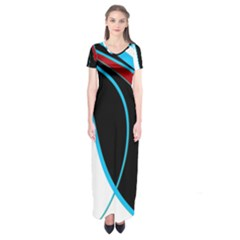 Blue, Red, Black And White Design Short Sleeve Maxi Dress by Valentinaart