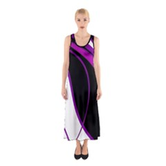 Purple Elegant Lines Sleeveless Maxi Dress by Valentinaart