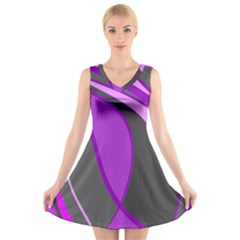 Purple Elegant Lines V-Neck Sleeveless Skater Dress