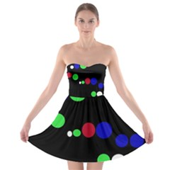 Colorful Dots Strapless Dresses by Valentinaart
