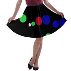 Colorful Dots A Line Skater Skirt
