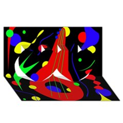 Abstract Guitar  Twin Hearts 3d Greeting Card (8x4)  by Valentinaart
