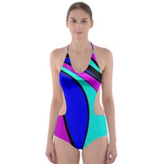 Purple And Blue Cut Out One Piece Swimsuit by Valentinaart