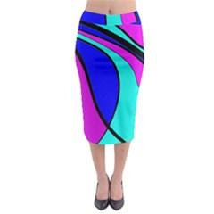Purple And Blue Midi Pencil Skirt by Valentinaart