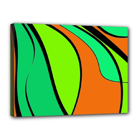 Green And Orange Canvas 16  X 12  by Valentinaart