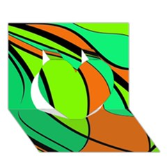 Green And Orange Heart 3d Greeting Card (7x5)  by Valentinaart