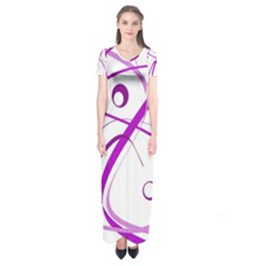 Purple Elegant Design Short Sleeve Maxi Dress by Valentinaart