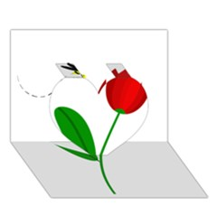 Red Tulip And Bee Heart 3d Greeting Card (7x5)  by Valentinaart