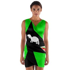 Wolf And Sheep Wrap Front Bodycon Dress by Valentinaart