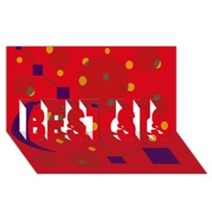 Red Abstract Sky Best Sis 3d Greeting Card (8x4)  by Valentinaart