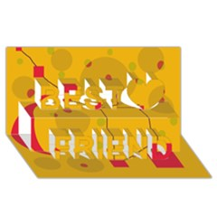 Yellow abstract sky Best Friends 3D Greeting Card (8x4)  by Valentinaart