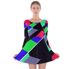 Abstract fish Long Sleeve Velvet Skater Dress by Valentinaart