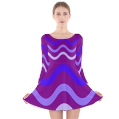 Purple Waves Long Sleeve Velvet Skater Dress by Valentinaart