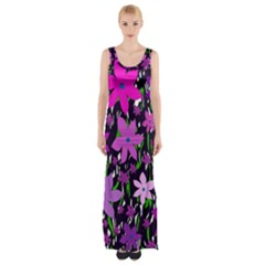 Purple Fowers Maxi Thigh Split Dress by Valentinaart