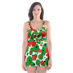 Red And Green Christmas Design  Skater Dress Swimsuit by Valentinaart