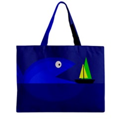 Blue Monster Fish Mini Tote Bag by Valentinaart