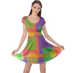 Colorful geometrical design Cap Sleeve Dresses by Valentinaart