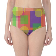 Colorful Geometrical Design High Waist Bikini Bottoms by Valentinaart
