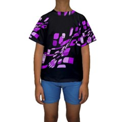 Purple decorative abstraction Kid s Short Sleeve Swimwear by Valentinaart